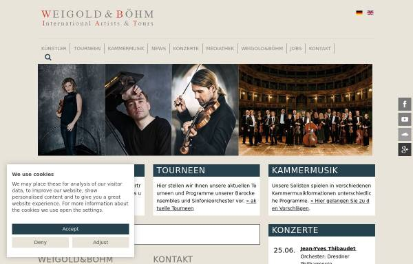 Vorschau von www.weigold-boehm.de, Weigold und Böhm - International Artists and Tours GmbH