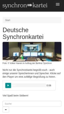 Vorschau der mobilen Webseite www.synchronkartei.de, Deutsche Synchronkartei