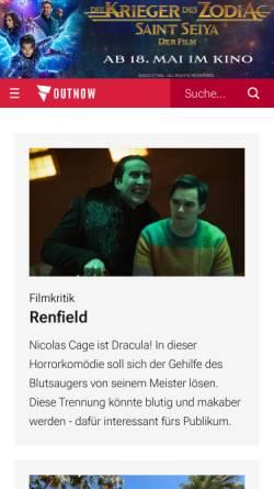 Vorschau der mobilen Webseite outnow.ch, OutNow