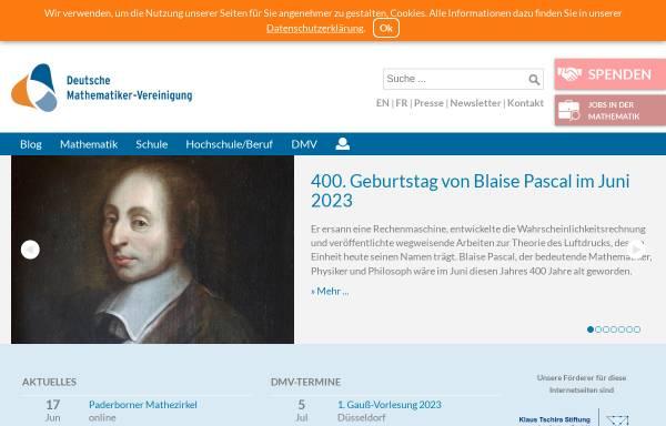 Vorschau von dmv.mathematik.de, Deutsche Mathematiker-Vereinigung (DMV)