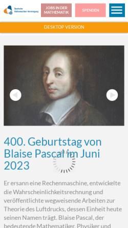 Vorschau der mobilen Webseite dmv.mathematik.de, Deutsche Mathematiker-Vereinigung (DMV)