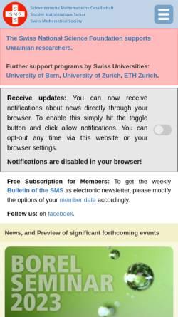 Vorschau der mobilen Webseite math.ch, Schweizerische Mathematische Gesellschaft