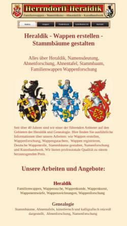 Vorschau der mobilen Webseite www.herrndorff-heraldik.de, Horst Herrndorff e.K., Inhaber Elmar Siemssen