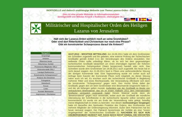 Vorschau von www.atavis-et-armis.info, Nicht offizielle Webseite über den Lazarus-Orden mit Informationen zur Ordensheraldik