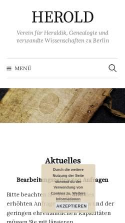 Vorschau der mobilen Webseite herold-verein.de, Verein Herold zu Berlin