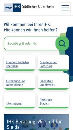 Vorschau der mobilen Webseite www.suedlicher-oberrhein.ihk.de, Industrie- und Handelskammer (IHK) Südlicher Oberrhein