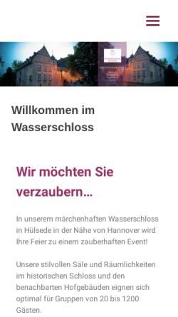 Vorschau der mobilen Webseite www.wasserschloss-huelsede.de, Wasserschloss Hülsede