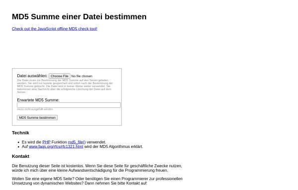 Vorschau von www.bruechner.de, MD5-Summe einer Datei bestimmen