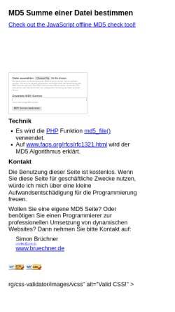 Vorschau der mobilen Webseite www.bruechner.de, MD5-Summe einer Datei bestimmen
