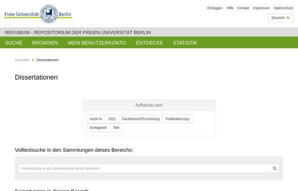Vorschau von www.diss.fu-berlin.de, Die Privatisierung von Unternehmensbeteiligungen des Landes Berlin seit der Wiedervereinigung