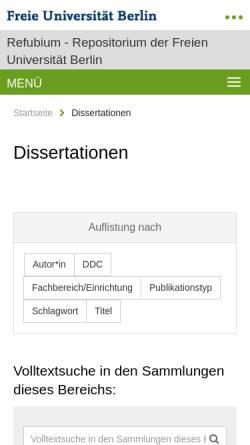 Vorschau der mobilen Webseite www.diss.fu-berlin.de, Die Privatisierung von Unternehmensbeteiligungen des Landes Berlin seit der Wiedervereinigung