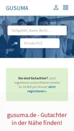 Vorschau der mobilen Webseite www.gusuma.de, Gutachtersuchmaschine by Suma Webtec GmbH + Co. KG