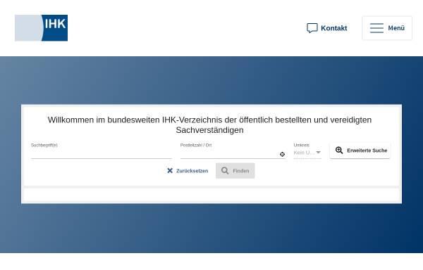Vorschau von svv.ihk.de, IHK Sachverständigen-Verzeichnis