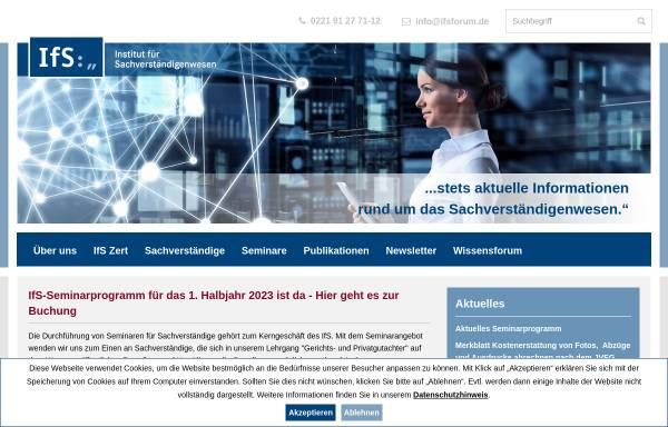 Vorschau von www.ifsforum.de, Institut für Sachverständigenwesen e.V.