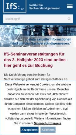 Vorschau der mobilen Webseite www.ifsforum.de, Institut für Sachverständigenwesen e.V.