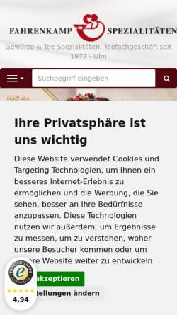 Vorschau der mobilen Webseite www.fahrenkamp.de, Fahrenkamp
