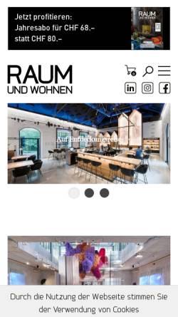 Vorschau der mobilen Webseite www.raum-und-wohnen.ch, Raum und Wohnen
