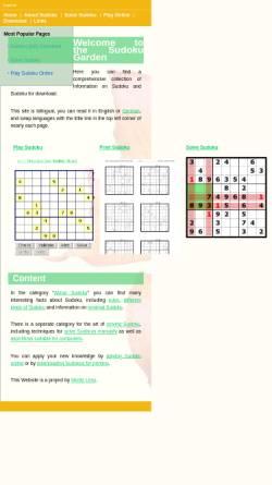 Vorschau der mobilen Webseite www.sudokugarden.de, Sudoku Garden