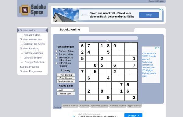 Sudoku und Varianten: Sudoku, Rätsel sudoku space.de