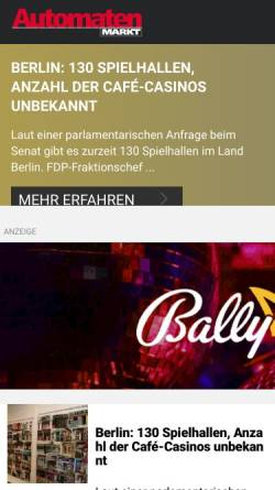 Vorschau der mobilen Webseite www.automatenmarkt.de, AutomatenMarkt - Sigert Verlag GmbH