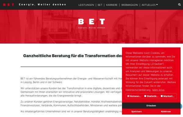 Vorschau von www.bet-energie.de, BET Büro für Energiewirtschaft und technische Planung GmbH