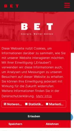 Vorschau der mobilen Webseite www.bet-energie.de, BET Büro für Energiewirtschaft und technische Planung GmbH