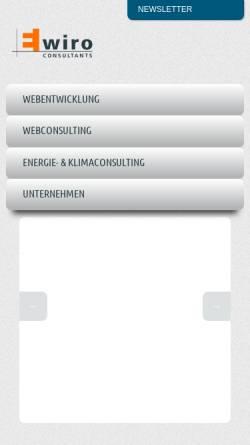 Vorschau der mobilen Webseite www.wiro-consultants.com, WiRo Energie & Konnex Consulting GmbH