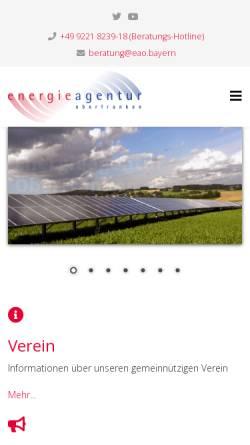 Vorschau der mobilen Webseite www.energieagentur-oberfranken.de, Energieagentur Oberfranken e.V.
