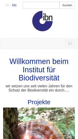 Vorschau der mobilen Webseite www.biodiv.de, Institut für Biodiversität - Netzwerk e.V.