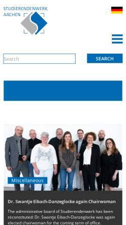 Vorschau der mobilen Webseite www.studentenwerk-aachen.de, Studentenwerk Aachen