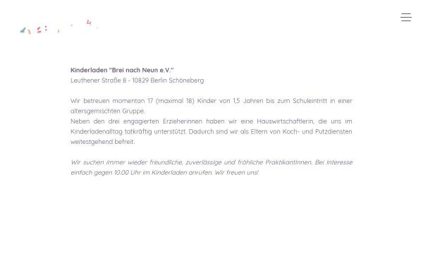Vorschau von www.brei-nach-neun.de, Kinderladen Brei nach Neun e.V.