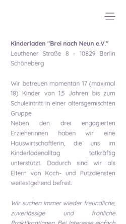 Vorschau der mobilen Webseite www.brei-nach-neun.de, Kinderladen Brei nach Neun e.V.