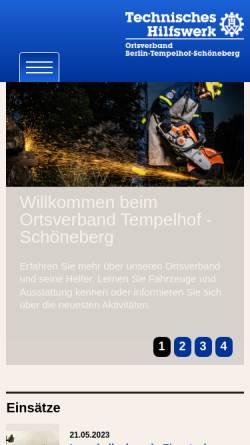 Vorschau der mobilen Webseite ov-berlin-tempelhof-schoeneberg.ov-cms.thw.de, THW - Ortsverband Tempelhof-Schöneberg