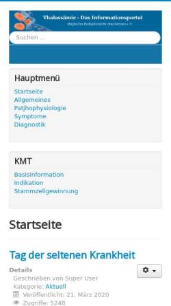 Vorschau der mobilen Webseite www.thalassaemie.info, Thalassämie