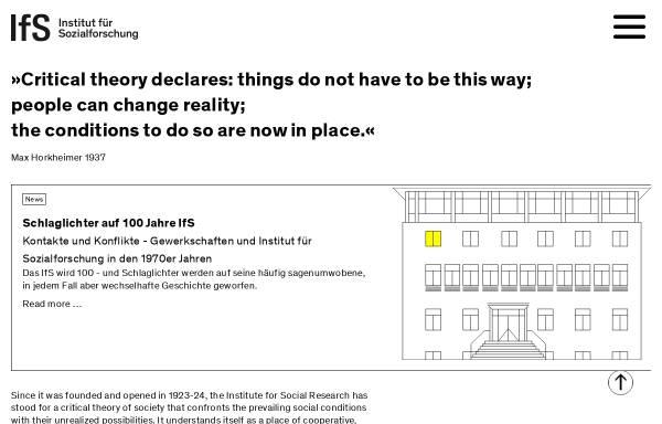 Vorschau von www.ifs.uni-frankfurt.de, Institut für Sozialforschung Frankfurt am Main
