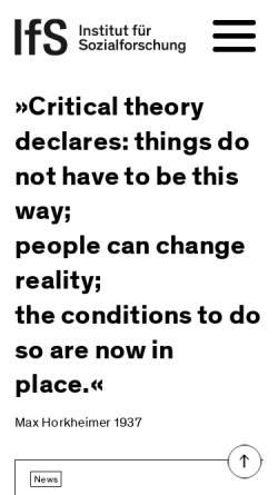 Vorschau der mobilen Webseite www.ifs.uni-frankfurt.de, Institut für Sozialforschung Frankfurt am Main