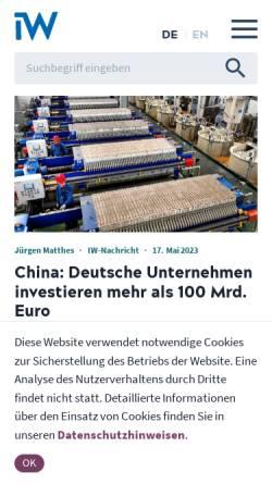 Vorschau der mobilen Webseite www.iwkoeln.de, Institut der Deutschen Wirtschaft (IW)