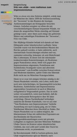 Vorschau der mobilen Webseite www.artechock.de, Besprechung - Fritz von Uhde vom Realismus zum Impressionismus