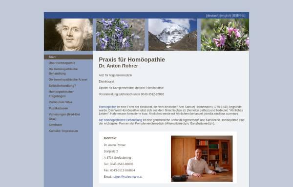 Vorschau von www.hahnemann.at, Dr. Anton Rohrer - Praxis für Homöopathie