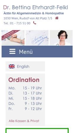 Vorschau der mobilen Webseite www.ordination.or.at, Dr. Bettina Ehrhardt-Felkl