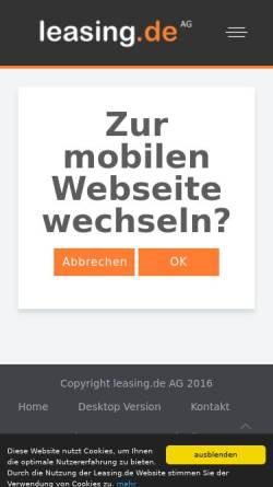 Vorschau der mobilen Webseite www.leasing.de, Leasing.de AG