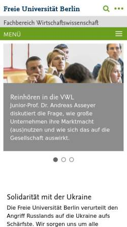 vorschau der mobilen webseite wwwwiwissfu berlinde fachbereich wirtschaftswissenschaft - Fu Berlin Bewerbung