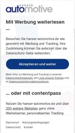 Vorschau der mobilen Webseite www.hanser-automotive.de, Automotive Electronics + Systems