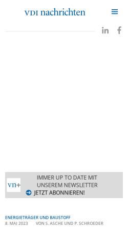 Vorschau der mobilen Webseite www.vdi-nachrichten.com, VDI Nachrichten