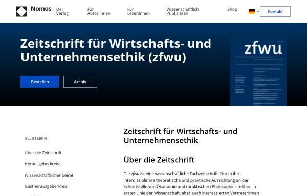 Vorschau von www.zfwu.de, Zeitschrift für Wirtschafts- und Unternehmensethik