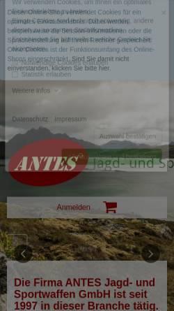 Vorschau der mobilen Webseite www.waffen-antes.de, Antes Jagd- und Sportwaffen GmbH