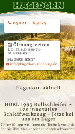 Vorschau der mobilen Webseite www.hagedorn-nienburg.de, Hagedorn &Söhne