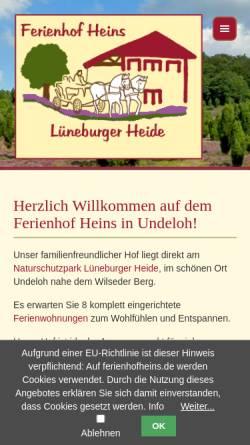Vorschau der mobilen Webseite www.ferienhofheins.de, Ferienhof Heins