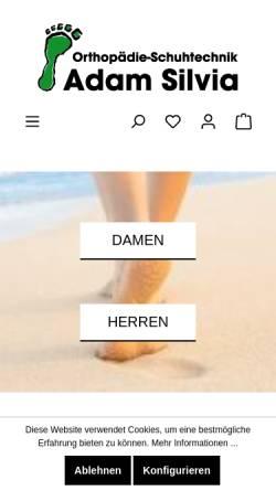 Vorschau der mobilen Webseite www.schuh-adam.de, Orthopädie Schuhtechnik Adam, Inh. Silvia Hollfelder