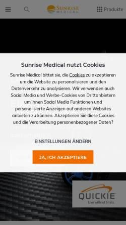 Vorschau der mobilen Webseite www.sunrisemedical.de, Sunrise Medical GmbH